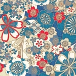 "Chiyogami Yuzen Origami Paper Pack 6"" x 6"" Sheets (4 Pack) - TRUE BLUE"