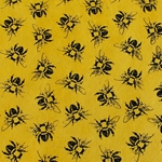 Lokta Paper Origami Pack - Silkscreened Nepalese Lokta Paper - Bees - BLACK ON YELLOW