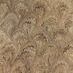 Italian Marbled Origami Paper - PEACOCK - Brown/Silver
