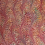 Italian Marbled Origami Paper - WAVE ON TWILLED - Red/Orange/Aqua