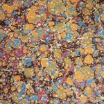 Italian Marbled Origami Paper - STONE - Orange/Red/Blue