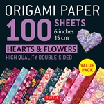 Origami Paper Pack - DOUBLE SIDED HEART AND FLOWER PATTERNS - 6""
