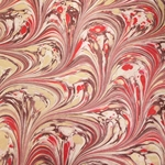 Italian Marbled Origami Paper - FLOW - Red/Brown/Gold