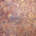 Italian Marbled Origami Paper - PEACOCK - Mauve/Blue/Gold