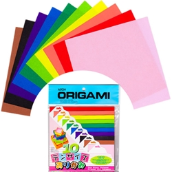 10 Color in 10 Sizes of Origami Paper