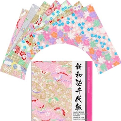 """Japanese 6/"""" Washi Textured Gold /& Silver Origami Papers 15 Sheets Made in Japan"""
