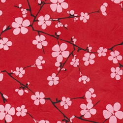 Lokta Paper Origami Pack - Blossom - WHITE ON RED