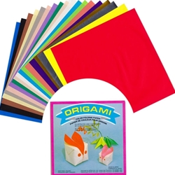 Solid Color Origami Paper Pack with Box Folding Instructions