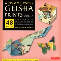 Finally, an origami kit for beginners and experts alike. The large, 8.25 inch sheets make easy folding for beginners as they follow the included instructions. The specialty prints and solid color reverse on these papers will thrill experts with new designs and patterns for their art. The 48 sheets in this kit feature details inspired by classic Japanese Ukiyo-E paintings of the secretive world of Geishas. On the reverse of each sheet is a solid, complimentary color. Finishing up the kit are instructions providing an introduction to basic origami folding techniques and instructions for 6 different projects.