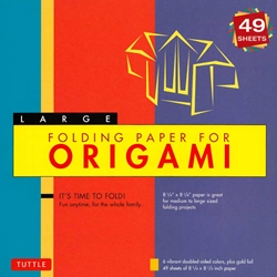 Finally, an origami kit for beginners and experts alike. The large, 8.25 inch sheets make easy folding for beginners as they follow the included instructions. The specialty prints, bright hues and solid color reverse on these papers will thrill experts with new designs and patterns for their art. The 49 sheets in this kit feature both solid color and colorful prints. On the reverse of each sheet is a solid, complimentary color. Finishing up the kit are instructions providing an introduction to basic origami folding techniques and instructions for 6 different projects. As a bonus, you also get one sheet of gold foil origami paper!