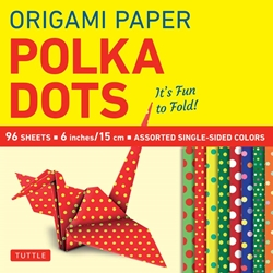 Origami Paper Pack - SINGLE SIDED POLKA DOT - 6""