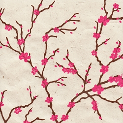 Lokta Paper Origami Pack - Peach Blossom - PINK ON CREAM