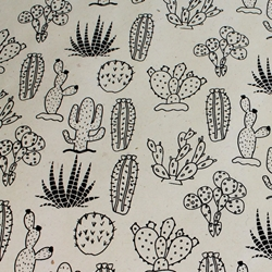 Lokta Paper Origami Pack - Silkscreened Nepalese Lokta Paper - Cactus - BLACK ON CREAM