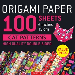 Origami Paper Pack - DOUBLE SIDED CAT PATTERNS - 6""