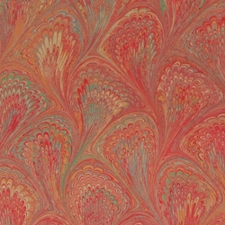 Italian Marbled Origami Paper - PEACOCK - Red/Orange
