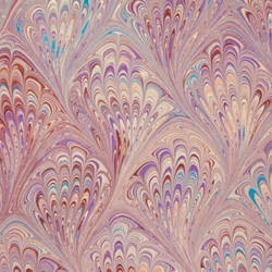 Italian Marbled Origami Paper - PEACOCK - Purples