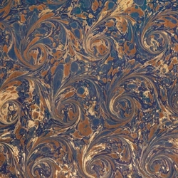 Italian Marbled Origami Paper - CURLED STONE - Blue/Brown/Gold
