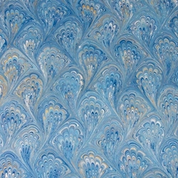 Italian Marbled Origami Paper - PEACOCK - Bright Blues