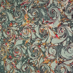 Italian Marbled Origami Paper - CURLED STONE - Green/Red