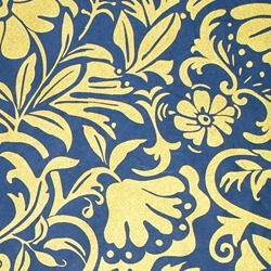 Screenprinted Mulberry Origami Paper - Moon Flowers - GOLD, MIDNIGHT BLUE