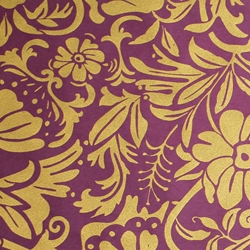 Screenprinted Mulberry Origami Paper - Moon Flowers - GOLD, PLUM