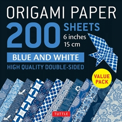 "6"" Origami Paper and Instruction Kit - BLUE AND WHITE"
