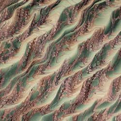 Italian Marbled Origami Paper - DRAGON SKIN - Green/Brown